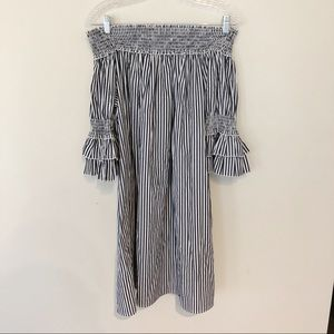 Chelsea & Theodore Striped Off the Shoulder Dress